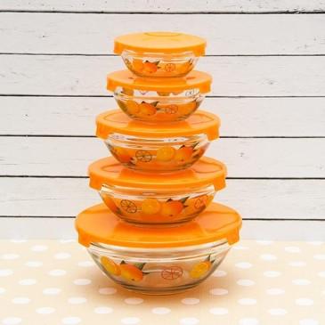Набор салатников с крышками (130, 200, 350, 500 и 900 мл) Апельсин Доляна