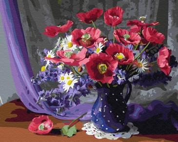 Картина по номерам на подрамнике. Синяя ваза в горошек ВанГогВоМне