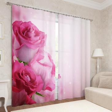 Фотошторы (2 шт.) Блеск роз Сирень, габардин