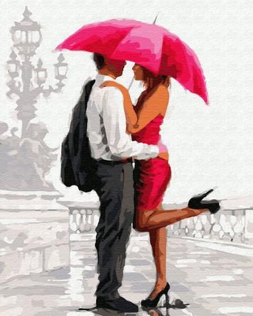 Картина по номерам на подрамнике. Свидание под красным зонтом ВанГогВоМне