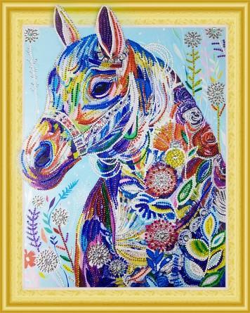 Алмазная картина с фигурными стразами. Цветочная лошадь Color Kit