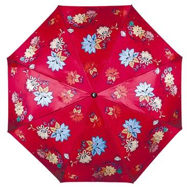 Зонт автомат 3 сложения Русские мотивы цветы Flioraj
