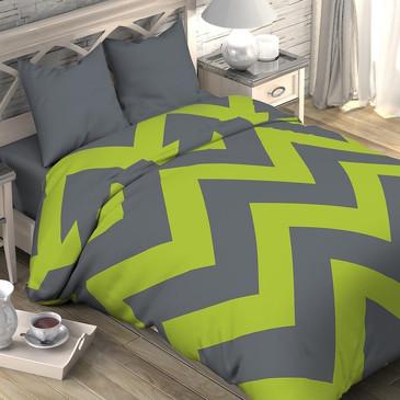 Комплект постельного белья Зеленый шеврон, поплин Этель