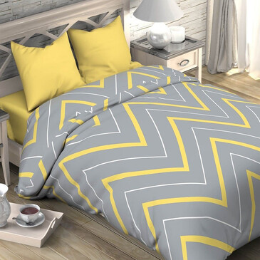 Комплект постельного белья желто-серые зигзаги, поплин Этель