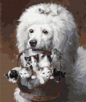 Картина по номерам на подрамнике. Пудель с корзинкой котят ВанГогВоМне