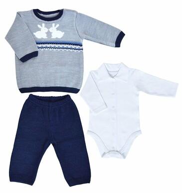 Комплект Зайчата (кофточка, штанишки и боди) LEO