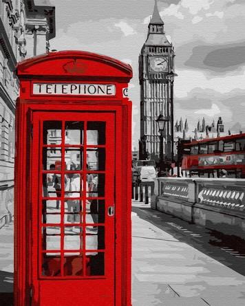 Картина по номерам на подрамнике. Красный Лондон. Телефонная будка ВанГогВоМне