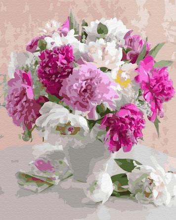 Картина по номерам на подрамнике. Свежие цветы в белой вазе ВанГогВоМне