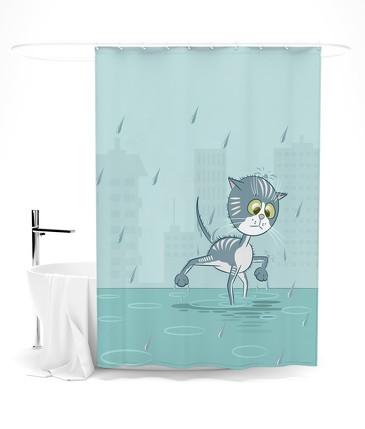 Шторка для ванной А я иду, шагаю под дождем Сирень