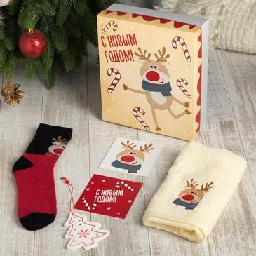 Подарочный набор (полотенце 30х60 см и носки) С новым годом Этель