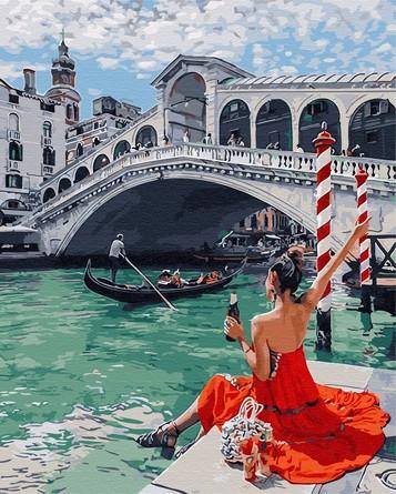 Картина по номерам на подрамнике. Одинокая брюнетка в Венеции ВанГогВоМне