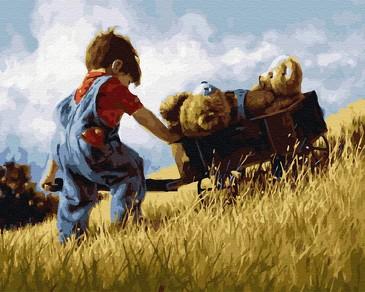 Картина по номерам на подрамнике. Мальчик с тачкой мишек ВанГогВоМне