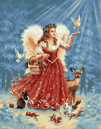 Картина по номерам на подрамнике. Рождественский ангел ВанГогВоМне