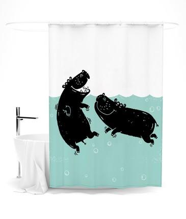 Шторка для ванной Забавы бегемотов Сирень