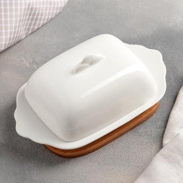 Масленка на подставке Эстет ( крышка 10х13,5х5,5 см) Доляна