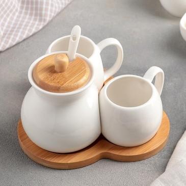 Набор чайный (2 чашки 200 мл и сахарница с ложкой) Эстет Доляна