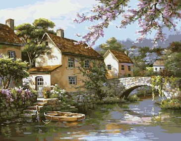 Картина по номерам на подрамнике. Деревушка у воды ВанГогВоМне
