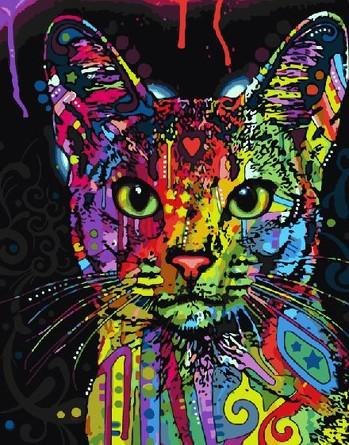 Картина по номерам на подрамнике. Цветной кот ВанГогВоМне