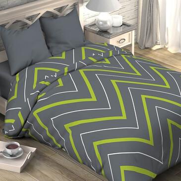 Комплект постельного белья зелено-серые зигзаги, поплин Этель