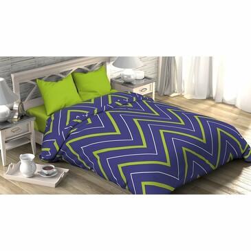 Комплект постельного белья зелено-синие зигзаги, поплин Этель