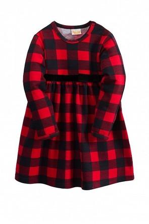 Платье с дл. рукавом Клетка Веселый малыш