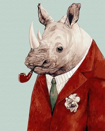 Картина по номерам на подрамнике. Носорог с трубкой ВанГогВоМне