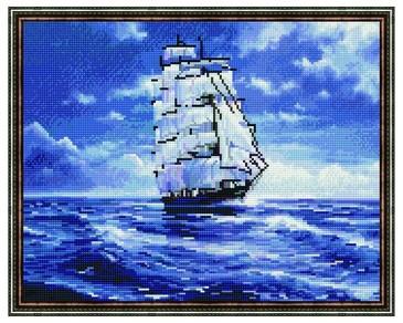 Алмазная мозаика. Парусник в спокойствие синего моря ВанГогВоМне