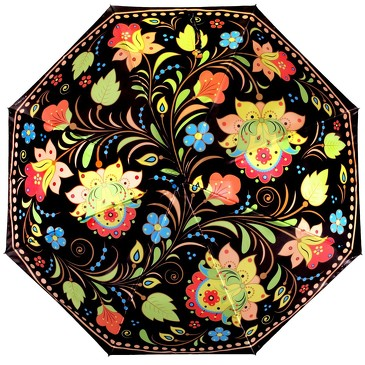Зонт автомат 3 сложения Хохлома Flioraj