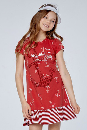Платье с оборкой Якорь NiñoMio