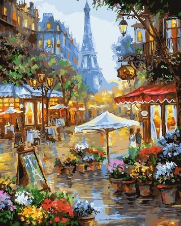 Картина по номерам на подрамнике. Дождь в Париже ВанГогВоМне