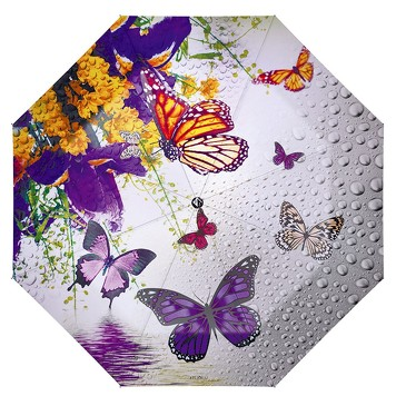 Зонт автомат 3 сложения Пробуждение бабочки цветы Flioraj