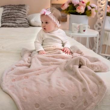 Плед -покрывало, micro velur Горох, 100х118 Baby Nice