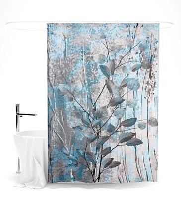 Шторка для ванной Медно-голубые листья Сирень