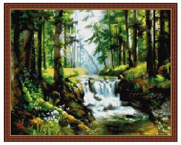 Алмазная мозаика. Лесной ручей ВанГогВоМне