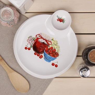 Блюдо круглое с соусником Вишневое варенье Доляна