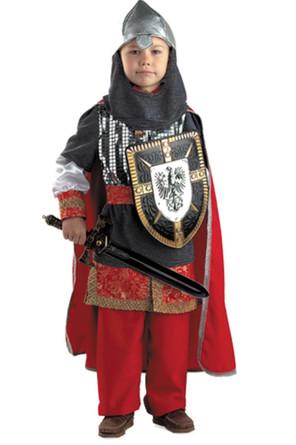 Карнавальный костюм Витязь (кольчуга, рубаха, плащ, брюки, пояс, шлем, щит, меч) Батик