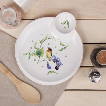 Блюдо круглое с соусником Зеленый сад Доляна