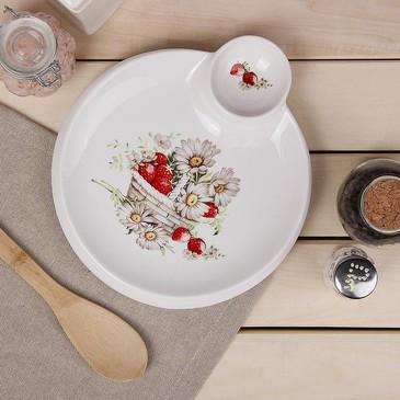 Блюдо круглое с соусником Ромашки Доляна