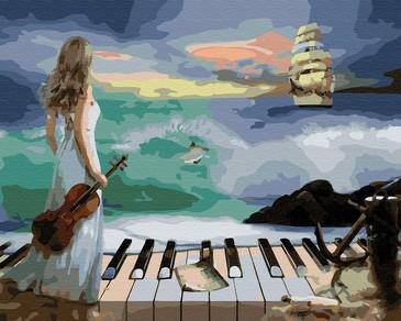 Картина по номерам на подрамнике. Музыка моря ВанГогВоМне