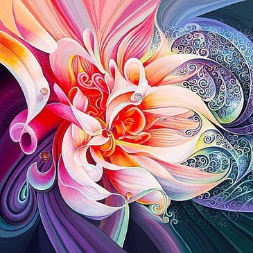 Алмазная картина на подрамнике. Абстрактный цветок Color Kit