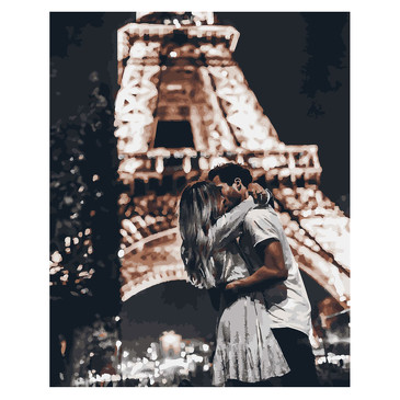 Картина по номерам на подрамнике. Романтический поцелуй  Paintboy