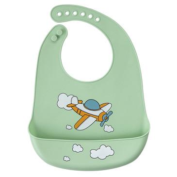 Нагрудник силиконовый с кармашком Самолет Baby Nice