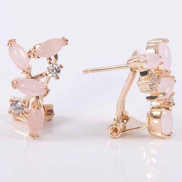 Серьги с розовым кварцем Искристые лепестки Lotus jewelry