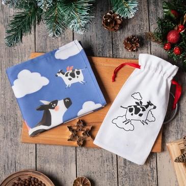 Набор в мешочке (полотенце 40х73см, формочки для запекания 3 шт.) Летающие коровки Этель