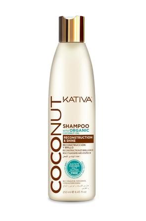 Восстанавливающий шампунь с органическим кокосовым маслом для поврежденных волос Coconut, 250 мл Kat