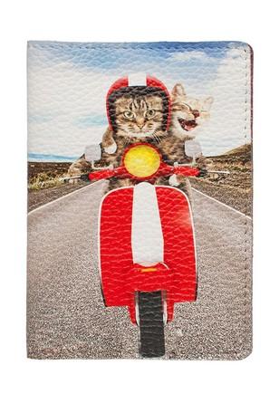Обложка на паспорт Коты на мото  Eshemoda