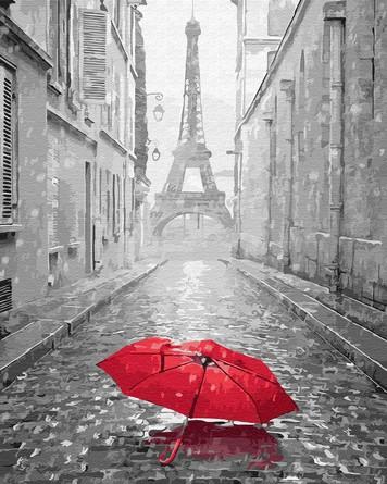 Картина по номерам на подрамнике. Зонт в Париже ВанГогВоМне