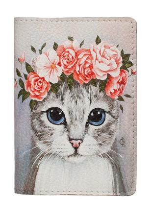 Обложка на паспорт Кошка с цветами  Eshemoda