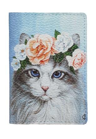 Обложка на паспорт Кошка с венком  Eshemoda