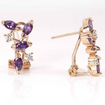 Серьги с аметистом Искристые лепестки Lotus jewelry